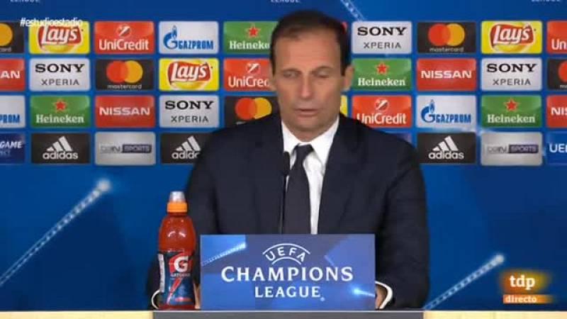 El entrenador de la Juventus se ha mostrado muy comedido en la rueda de prensa después del penalti que ha dejado fuera a su equipo.