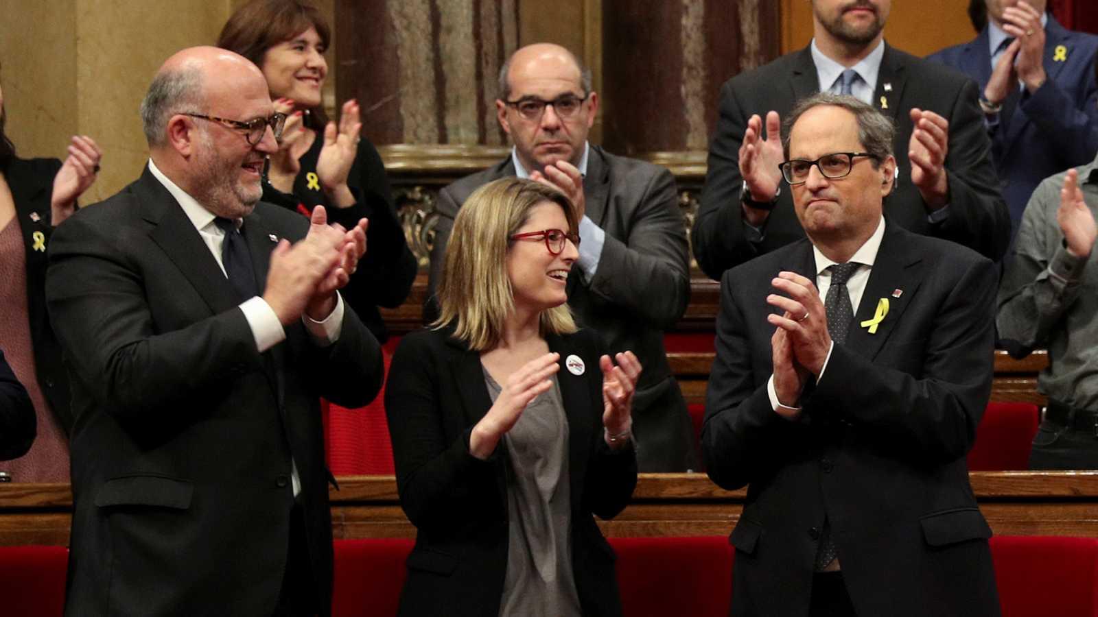 Torra, presidente de la Generalitat con la abstención de la CUP, promete investir a Puigdemont