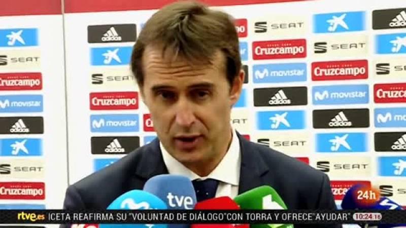 """Julen Lopetegui, seleccionador español, destacó el mérito de sus jugadores por acabar venciendo a Túnez en el que dijo fue """"un partido de Mundial"""" antes que un amistoso y pese a admitir que cometieron errores que corregir, extrajo conclusiones positi"""