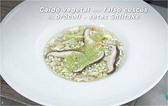 La ciencia de la salud - Receta de Caldo vegetal con falso cuscús de brócoli y setas shiitake
