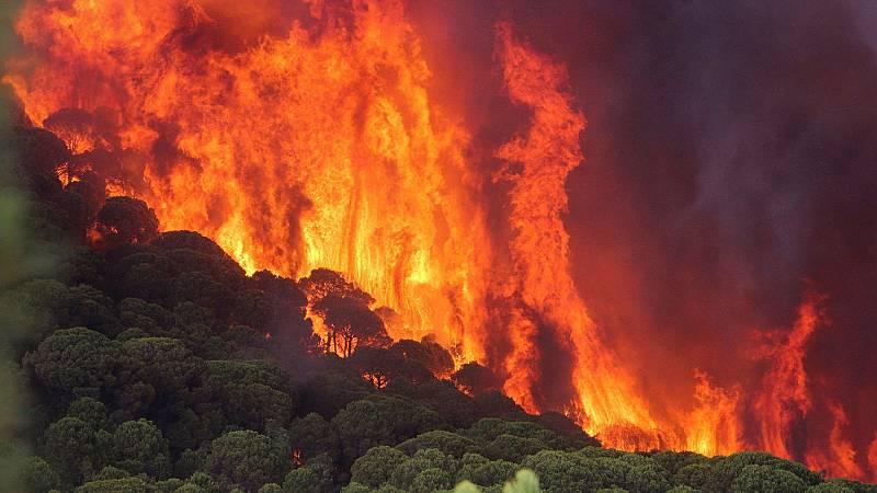 Los trabajos para sofocar el fuego de Nerva se han visto afectado por las condiciones meteorológicas