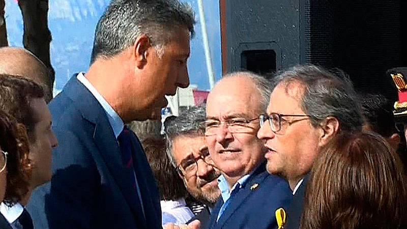 """Albiol recrimina a Torra su amenaza de """"atacar"""" al Estado en una tensa conversación en el homenaje en Cambrils"""
