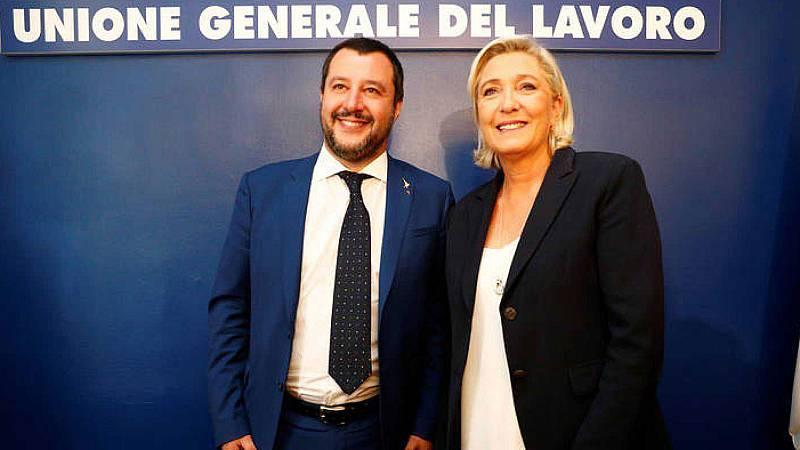 Los dos líderes ultraderechistas, el italiano Mateo Salvini y la francesa Marine Le Pen, se han reunido en Roma