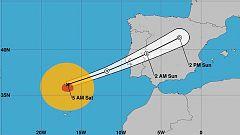 El huracán Leslie podría alcanzar el oeste de la península ibérica esta medianoche
