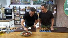 Torres en la cocina - Endivias con alcaparras y espaguetis con albóndigas