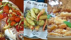 Torres en la cocina - Tempura de verduras, pargo y naranja con granada