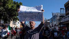 Manifestación en Tijuana contra la caravana de migrantes