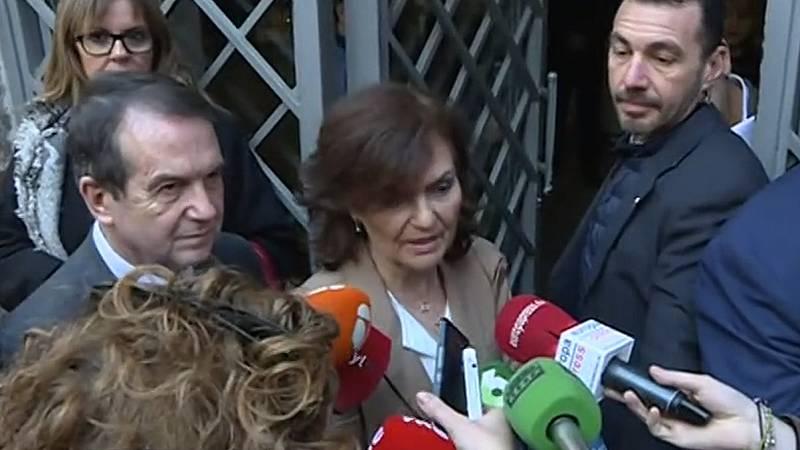 Protestas en Cataluña | Calvo aprovecha las protestas en Cataluña para invitar a Torra a apoyar los presupuestos