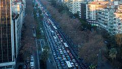Las protestas de los taxistas en Barcelona a vista de dron