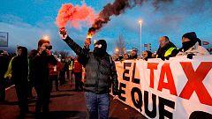 Tercera jornada de huelga de taxis en Madrid