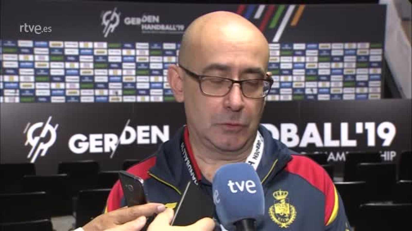 El seleccionador español hace una valoración del España 36-31 Egipto y del séptimo puesto conseguido por los Hispanos en el Mundial de Alemania y Dinamarca 2019.