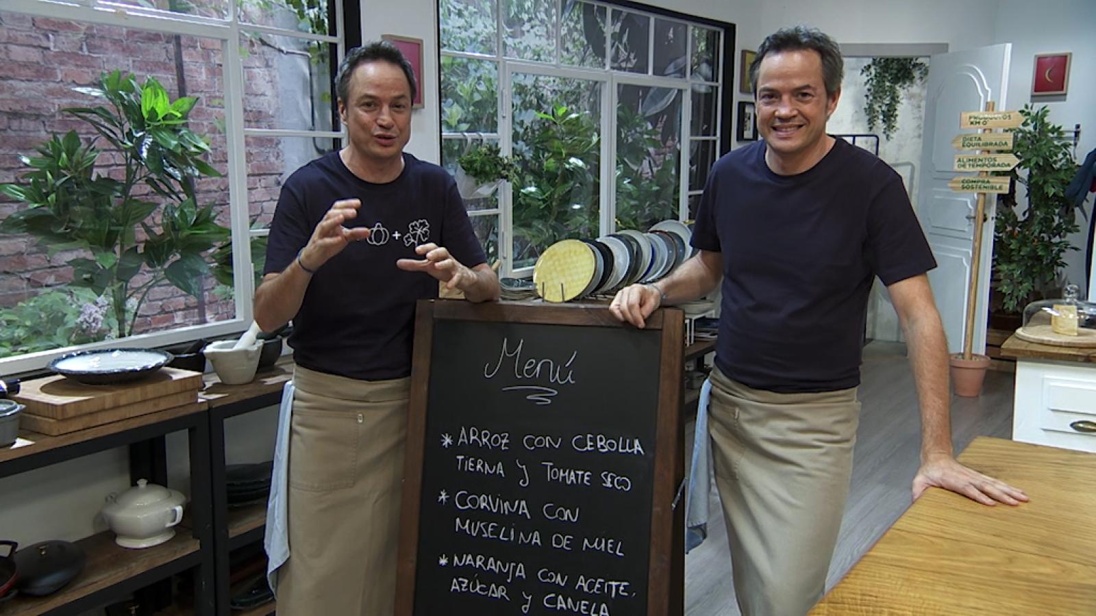 Torres en la cocina - Arroz con cebolla y tomate seco. Corvina con muselina de miel - ver ahora