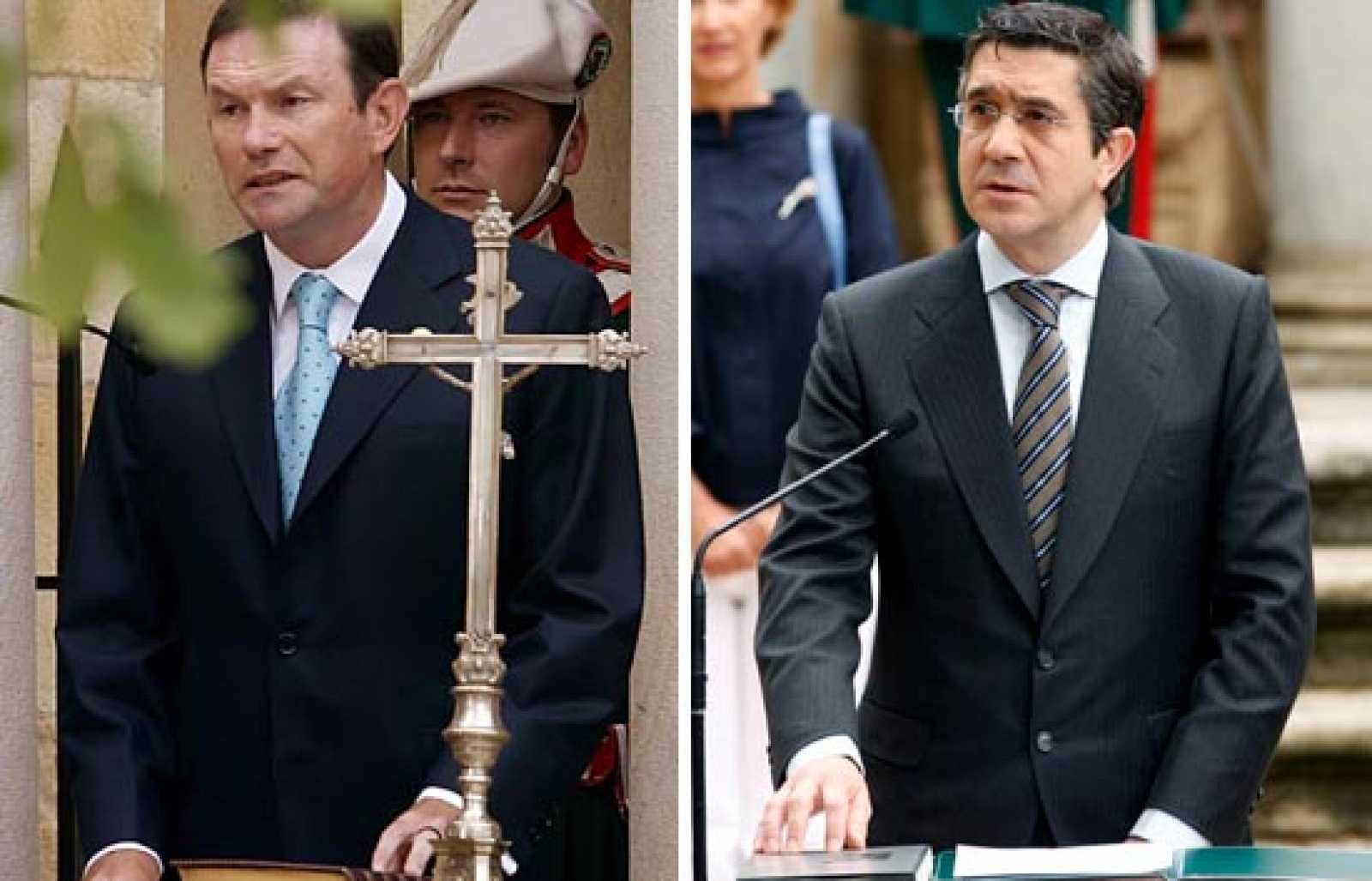 La toma de posesión de Juan José Ibarretxe hace cuatro años y la de Patxi López este jueves difirieron tanto en la ceremonia como en el contenido de su juramento.