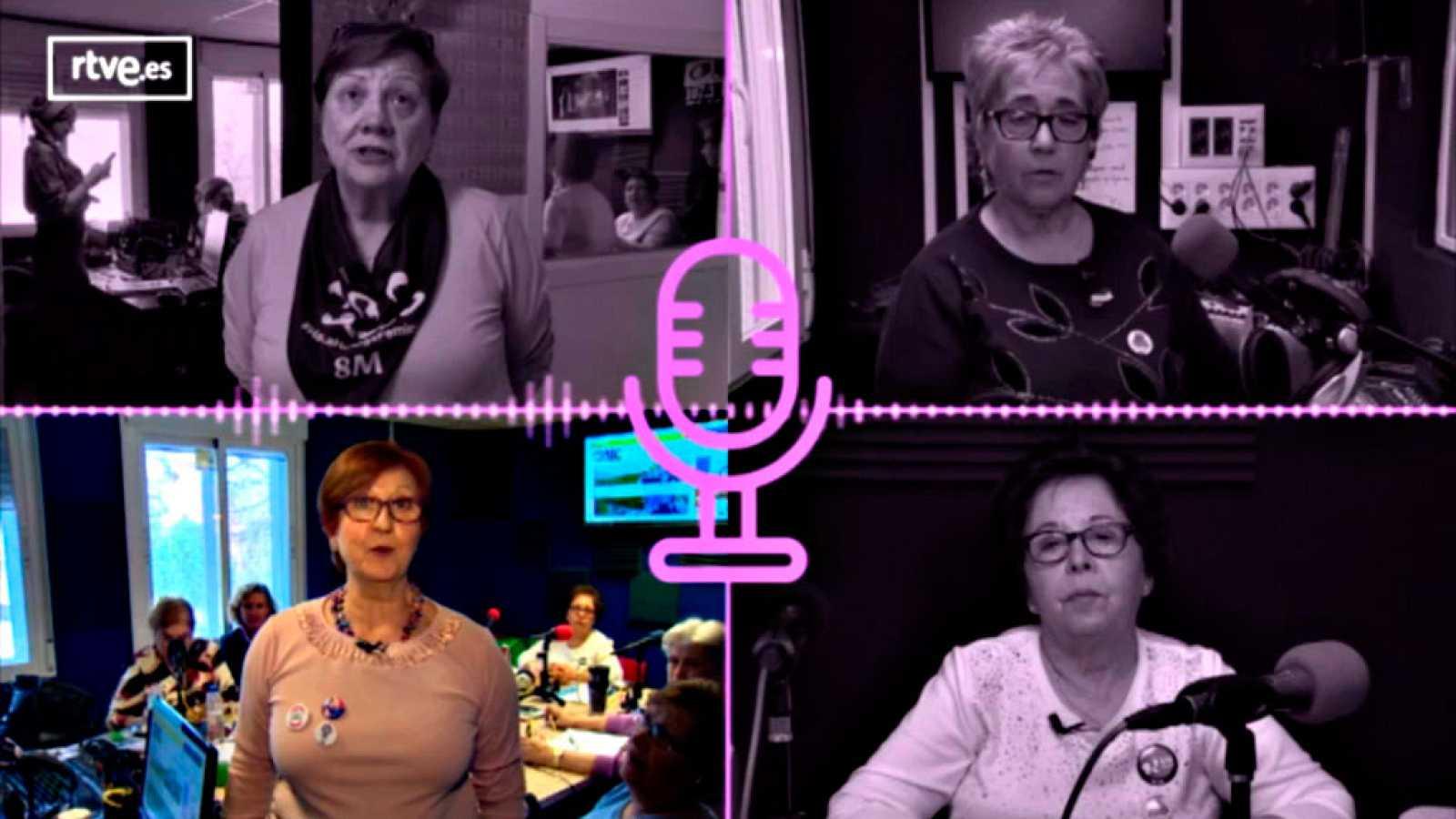Vídeo sobre las Lideresas de Villaverde en su estudio de radio OMC