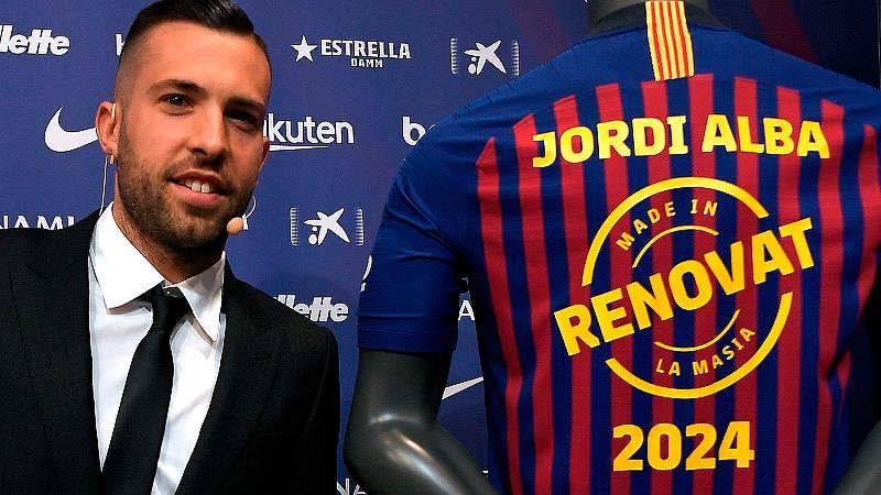 """El jugador del Barcelona Jordi Alba ha firmado su renovación con el club azulgrana hasta 2024. El lateral ha dicho que es """"gratificante"""" al tratarse de un jugador """"de la casa""""."""