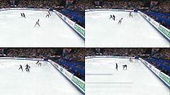Un patinador italiano y una francesa chocan en el calentamiento