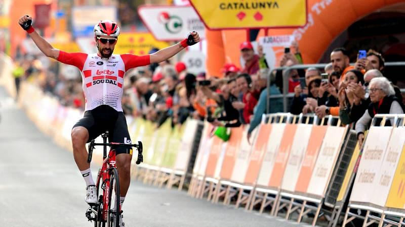 El ciclista belga Thomas de Gendt (Lotto Soudal) ha ganado este lunes la primera etapa de la Volta a Catalunya, con inicio y final en Calella y de 164 kilómetros, al volver a sus andadas y hacer buena una fuga para lograr su cuarto triunfo parcial en