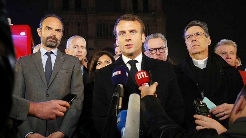 """Macron: """"Reconstruiremos Notre Dame todos juntos"""""""