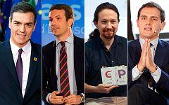 Todo listo en el plató de TVE para el debate a cuatro con Sánchez, Casado, Iglesias y Rivera