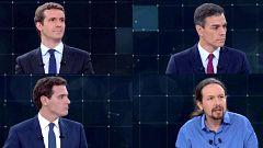 Minuto inicial de Albert Rivera, Pablo Iglesias, Pablo Casado y Pedro Sánchez