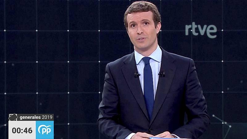 """Casado, en su minuto de oro: """"Pido el voto para trabajar por usted, por España""""."""