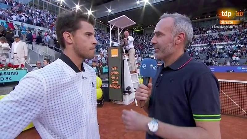 """Thiem: """"Federer es el mejor de la historia y ha jugado increíble, he tenido suerte"""""""