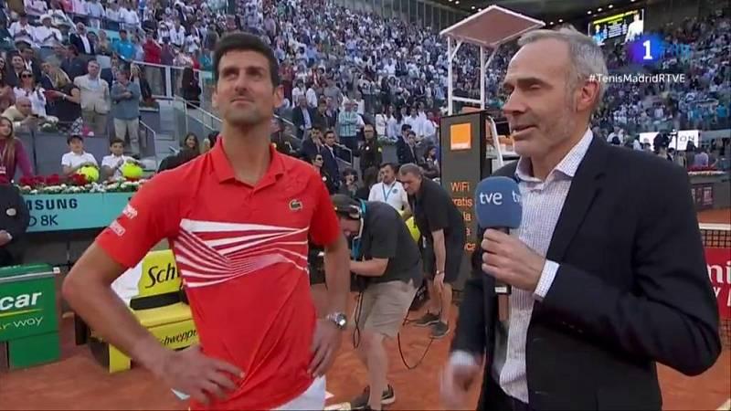 Novak Djokovic se mostró muy contento tras conquistar su tercer Madrid Open al ganar en la final al griego Tsitsipas por 6-3 y 6-4.