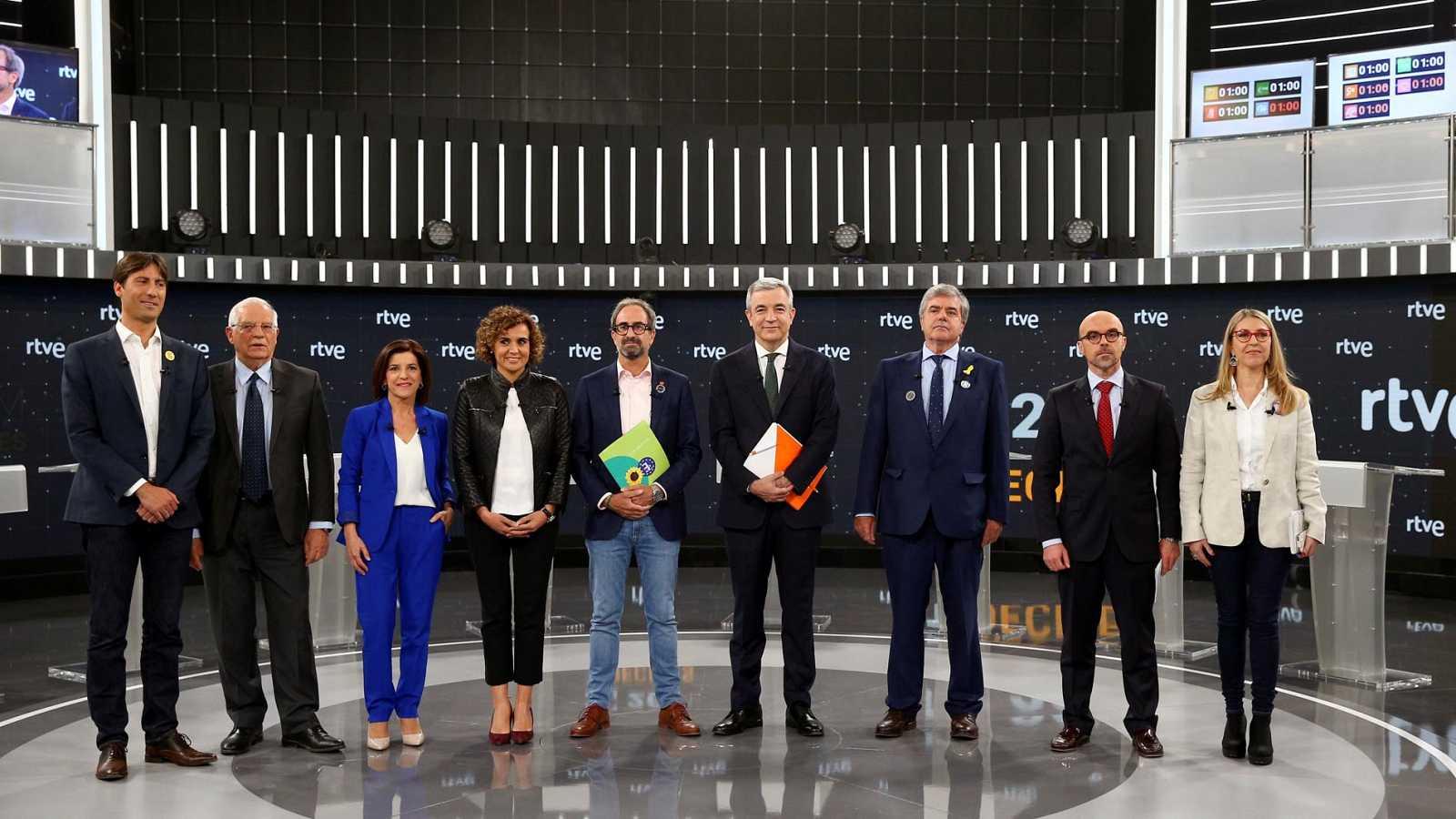 Los candidatos resumen sus propuestas en el minuto de oro en el debate a nueve de las europeas