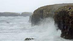 Intervalos de viento fuerte en el litoral de Galicia, área Cantábrica y Pirineos