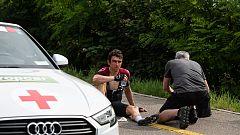 Dura caída de Geraint Thomas en la Vuelta a Suiza