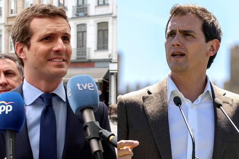 """Casado y Rivera se reafirman en no facilitar la investidura de Sánchez tras la """"infamia"""" del pacto en Navarra"""