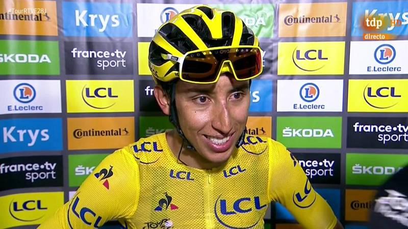 """El colombiano Egan Bernal aseguró sentir """"una felicidad que no se puede describir"""" tras cruzar la meta de París en la última etapa del Tour de Francia que le consagra como el primer colombiano en ganar la ronda gala."""