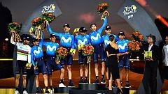 Tour 2019: El equipo Movistar sube al podio de París como mejor equipo del Tour