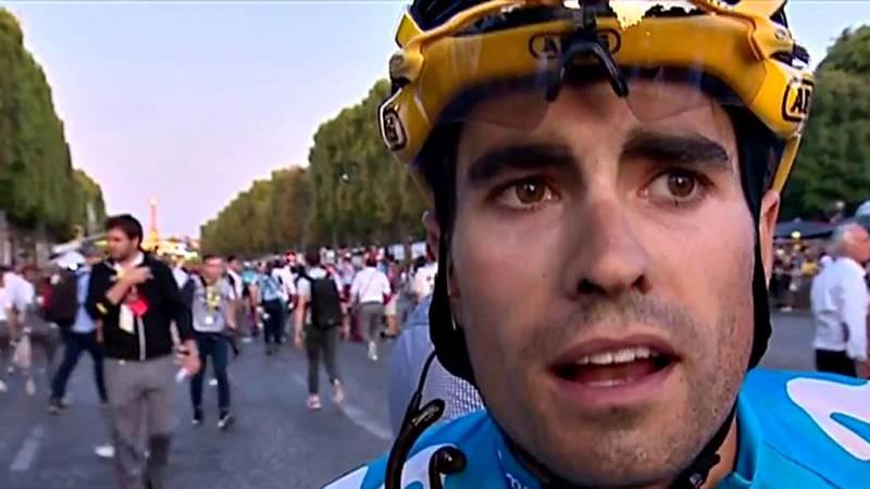 El corredor vasco del Movistar reconoce en el podio que hubiera querido llegar más alto en la carrera.