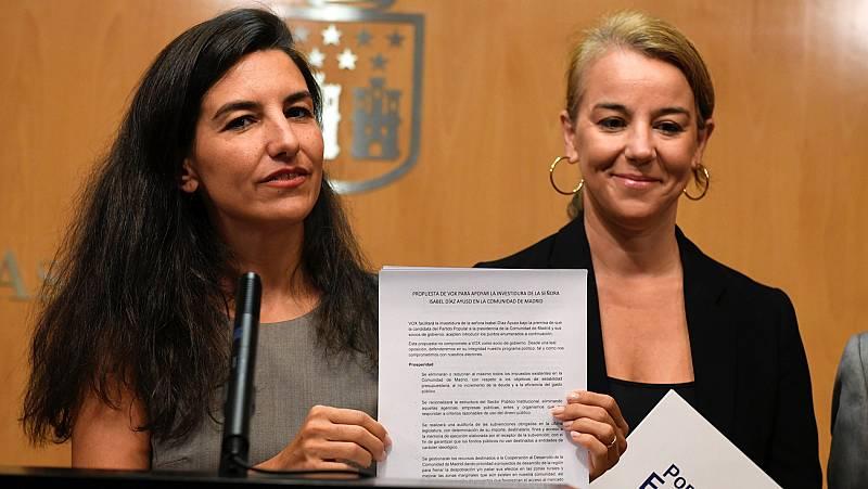 """Vox presenta un documento rebajado y """"definitivo"""" a PP y Cs para facilitar la investidura de Ayuso"""