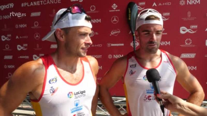Pelayo Roza y Pedro Vázquez se han congratulado por la medalla de plata conseguida en el Mundial de Szeged en la prueba de K2 500.
