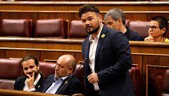 """Rufián critica al PSOE por """"incompetente"""" y """"negligente"""": """"Han perdido una oportunidad histórica"""""""