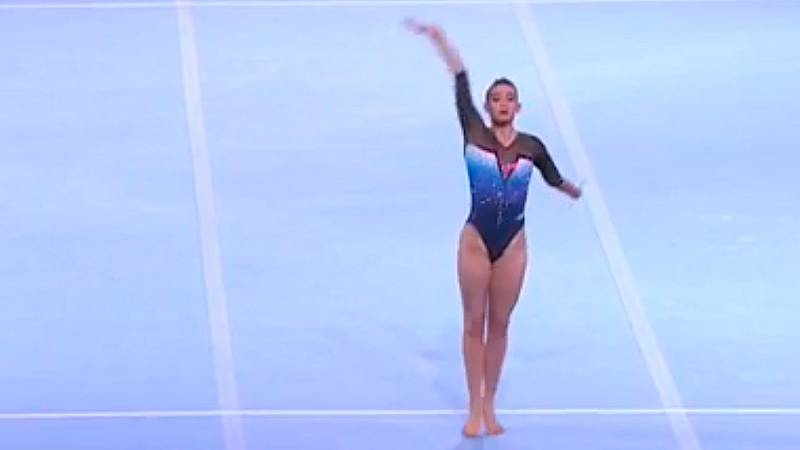 Cintia Rodríguez: ejercicio de suelo en la final del Mundial de gimnasia 2019