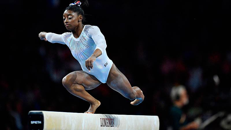 Simone Biles: prueba de barra en la final individual del Mundial 2019