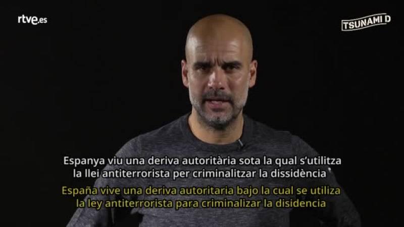 Pep Guardiola pone voz a un vídeo de Tsunami Democràtic
