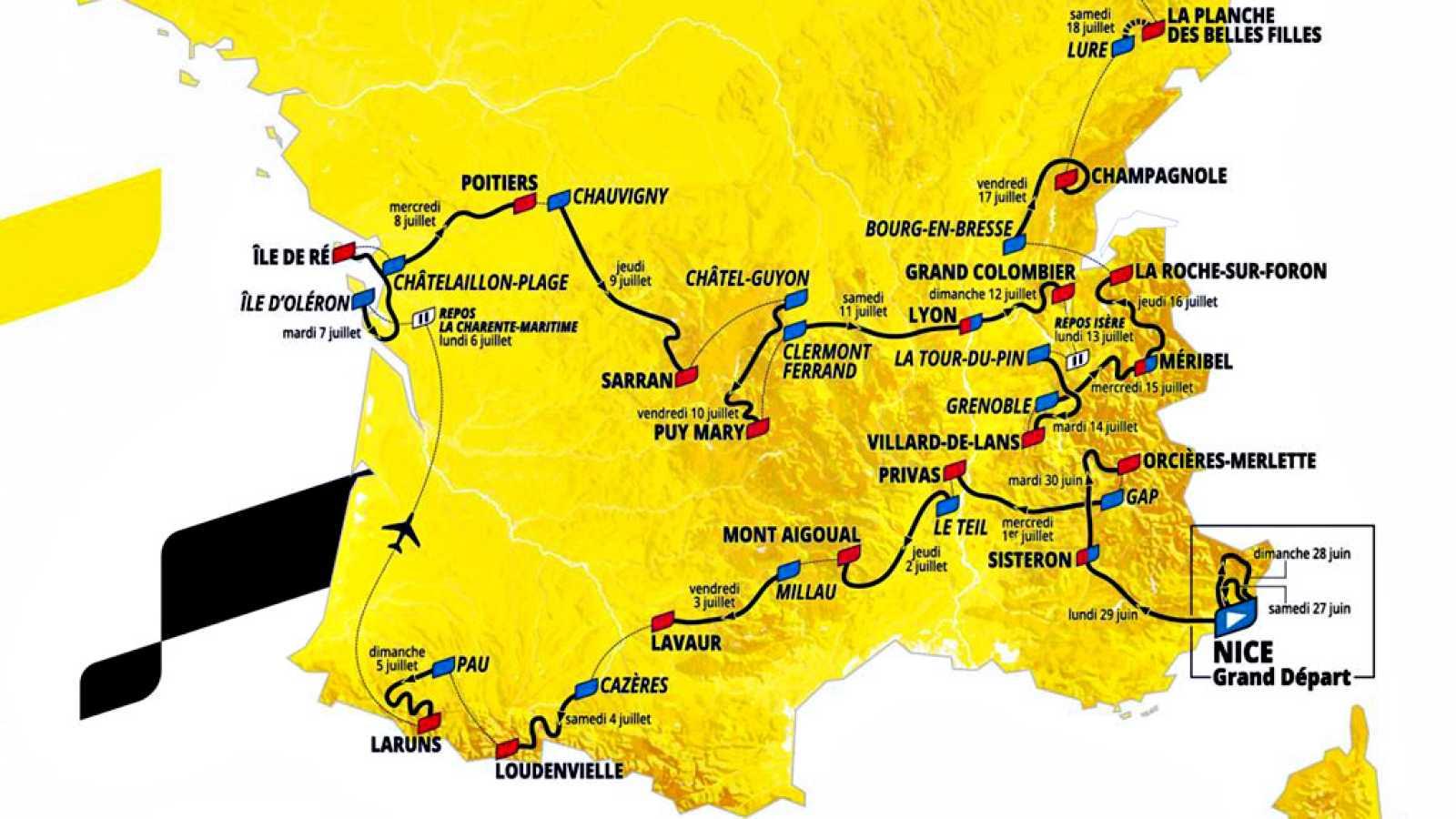Como viene sucediendo en los últimos años, el Tour de 2020 se ganará subiendo, en una edición en la que la montaña está repartida por todo el recorrido, presentado este martes en París, y donde incluso los kilómetros cronometrados se centran en las r