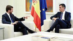 Sánchez se reúne con Casado, Rivera e Iglesias tras los altercados en Cataluña