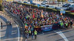 Las marchas independentistas que confluirán este viernes en Barcelona completan su segunda jornada