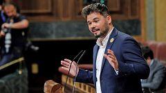 """Rufián (ERC): """"Es inadmisible que haya nazis al grito de 'Viva Hitler, viva Franco', que vayan dando palos, y con compadreo con los mossos"""""""