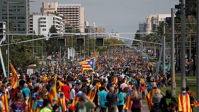 """Las """"Marchas por la libertad"""" llegan a Barcelona desde distintos puntos de Cataluña"""