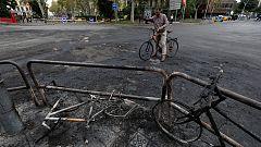 Cristales rotos y vallas calcinadas: así han quedado las calles de Barcelona tras la quinta jornada de protestas