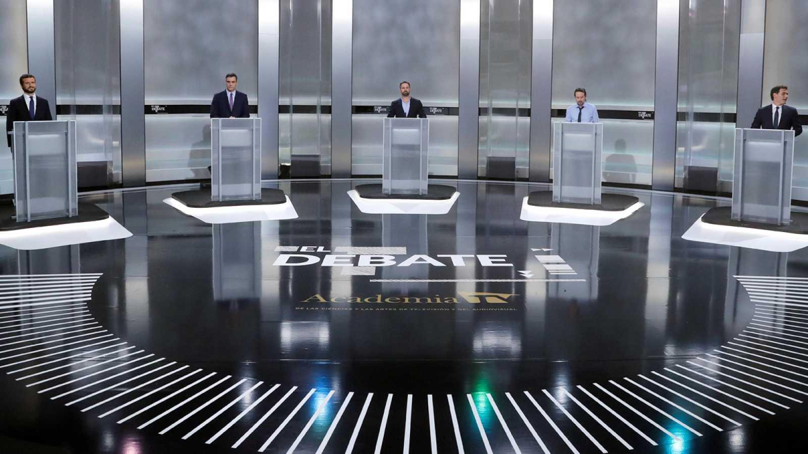 Los 'minutos de oro' de los candidatos en el debate a cinco en RTVE