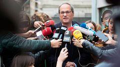 Quim Torra vota en el colegio electoral de Sant Gervasi, en Barcelona