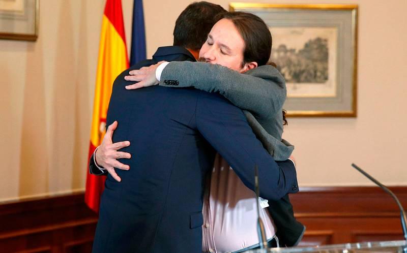 Sánchez e Iglesias firman un acuerdo para un gobierno progresista de coalición