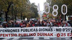 """Miles de personas se manifiestan en el País Vasco por unas pensiones públicas """"dignas"""""""